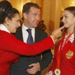 Dmitry Medvedev, Irina Viner, and Evgenia Kanaeva