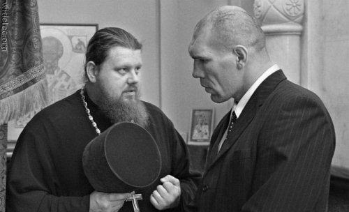 Nikolai Valuev as a member of Parliament, meeting with a representative of Russian christian orthodox church