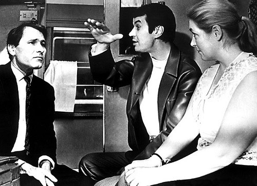 1972 film 'Pechki-Lavochki', actors from left to right Shukshin, Georgy Burkov, L. Fedoseyeva