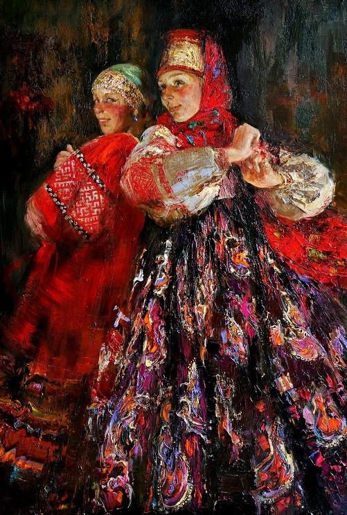 Russian folk costume in paintings of Anna Vinogradova