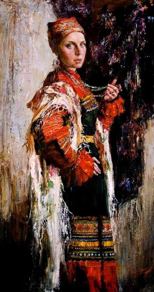 Female portrait in folk costume