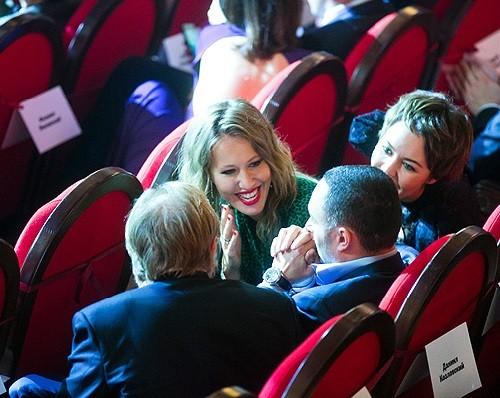 Ksenia Sobchak and Ulyana Sergeenko in the hall