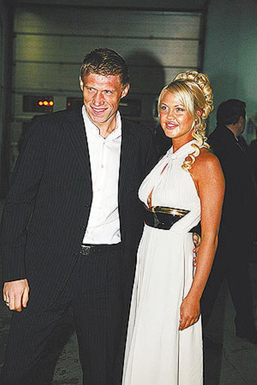 Russian footballer Pavel Pogrebnyak and his beautiful wife Maria