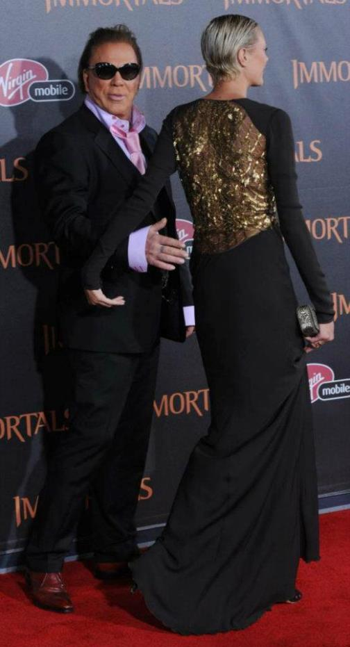 Mickey Rourke with girlfriend Anastassija Makarenko