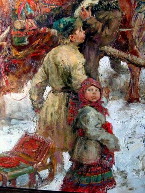 Russian folk costume in paintings