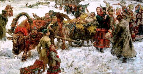 Russian folk costume in paintings