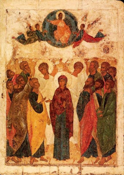 Ascension. Andrei Rublev. 1408. Moscow, The State Tretyakov Gallery
