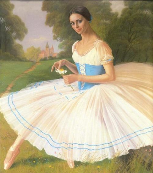 painter Alexander Shilov. Ballerina Lyudmila Semenyaka, ballet Gizel, 1980
