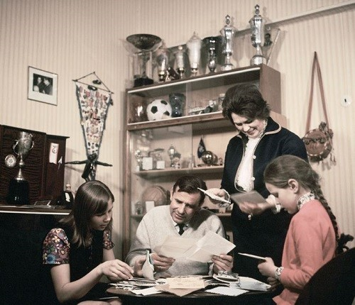 Footballer Lev Yashin and his family: daughter Irina (L), wife Valentina (R), and daughter Yelena. 1971