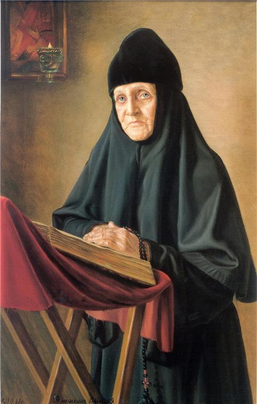 Mother Paisia, Pyukhtitsky Monastery, 1988. painter Alexander Shilov