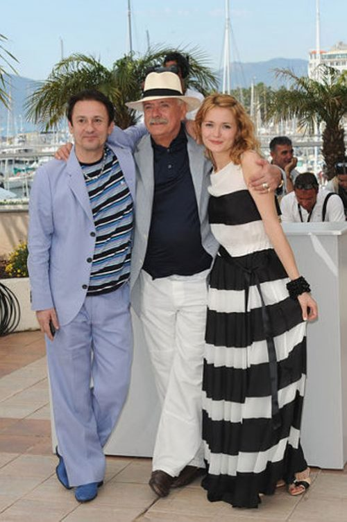 Oleg Menshikov, Nikita Mikhalkov and Nadezhda Mikhalkova at the International Cannes Film Festival