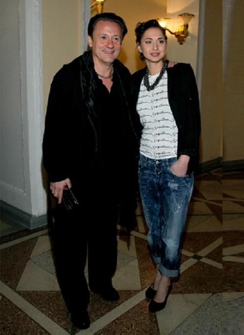 Oleg Menshikov with his wife Anastasia