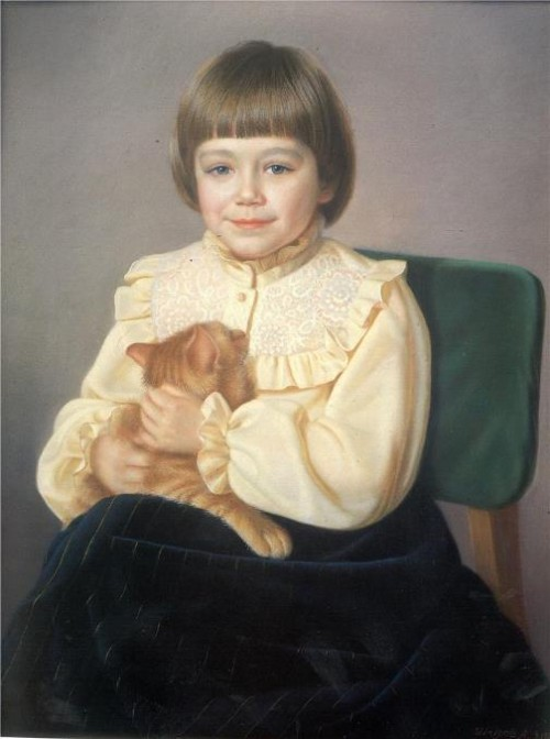 Violetta with a cat, 1980. painter Alexander Shilov