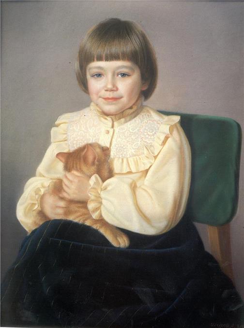 Violetta with a cat, 1980. painter Alexander Shilov