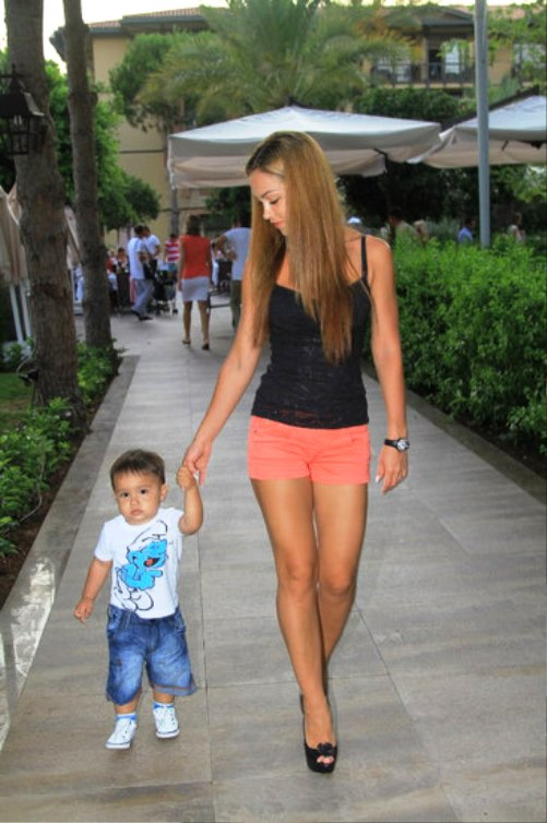 Walking with Christopher Diego. A month ago, Olga gave birth to a second son, Christian - Lucas