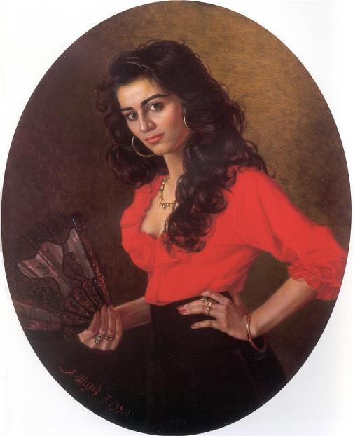 Young gypsy girl, 1990. painter Alexander Shilov