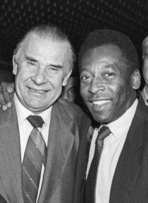 Moscow. USSR. Meeting of legendary football players - Soviet goalkeeper Lev Yashin and Brazilian striker Pele