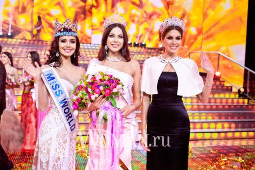 Russian winners of world beauty contests. Megan Young, Julia Alipova and Gabriela Isler