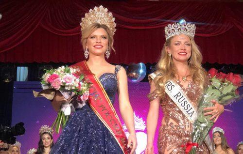 Russian winners of world beauty contests. Mrs Russia 2020 Daria Ivanova and Mrs Russia Globe Ekaterina Tsvetkova