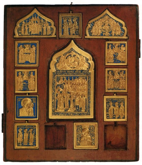 Copper enamel icons 'Protection of the Blessed Virgin Mary', Our Lady of worship of images, chosen saints (embedded in the board). 19th Century