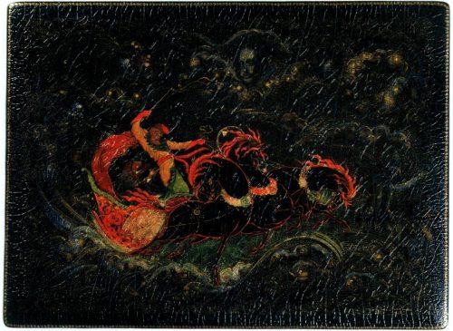 Demons. Casket. 1935. Ivan Petrovich Vakurov (1885 - 1968). Papier-mache, tempera, gold, aluminum, varnish. Bottom left - № 1794, on the right - IP Vakurov. v. Palekh. 1935. Association of Palekh artists in 1936. 405-LP. IP Vakurov - People's Artist of the RSFSR