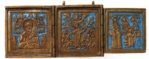 Enamel Triptych 'St. Nicholas with the forthcoming', 'Our Lady of the Afflicted', 'Saints Kirik and snail and chosen saints'. Pomorie. 19th Century