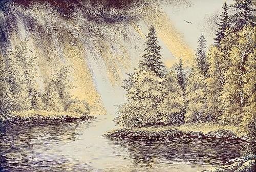 Engraving 'After the Storm'. Panels, handmade. Artist - R. Galliamova