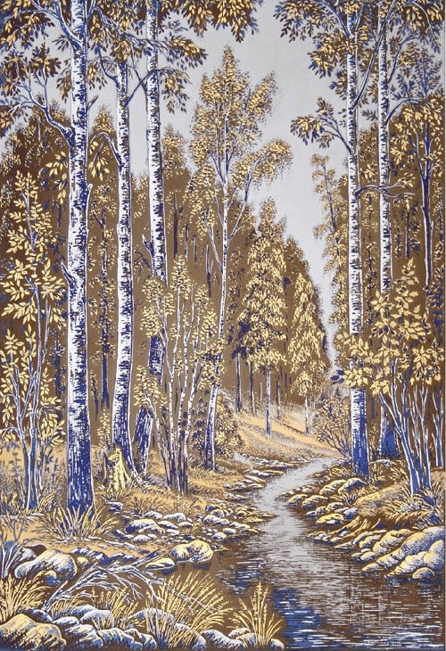 Engraving 'Birches', panel. Technology - engraving, etching, nickel, gold-plated, blued