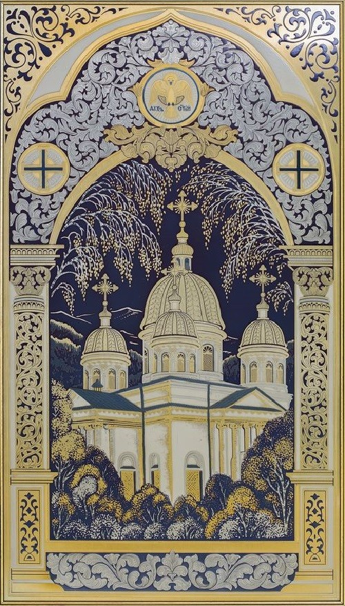 Engraving 'Holy Trinity Cathedral', panel. Technology - engraving, etching, nickel, gold-plated, blued