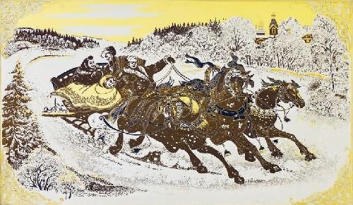 Russian folk art Zlatoust steel engraving