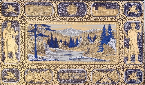 Zlatoust steel engraving. Engraving 'Visiting card of Zlatoust', panel. Technology - engraving, etching, nickel, gold-plated, blued