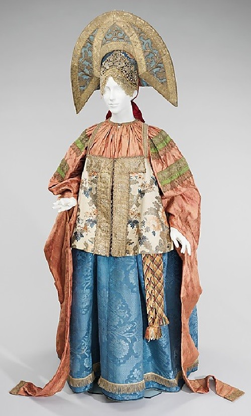 Ensemble. Date - 19th century. Medium - silk, metal, linen, cotton