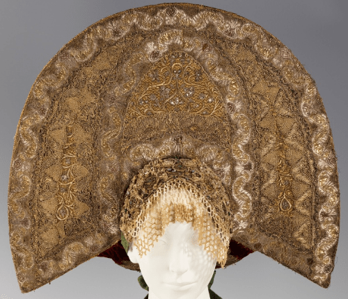 Headdress. Date - 1800. Medium - metal silk, paper, cotton, metal, mother-of-pearl, glass, semi-precious stones
