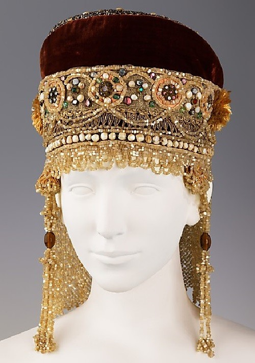 Headdress. Date - 19th century. Medium - silk, metal, mother-of-pearl, pearl. Brooklyn Museum Costume Collection at The Metropolitan Museum of Art