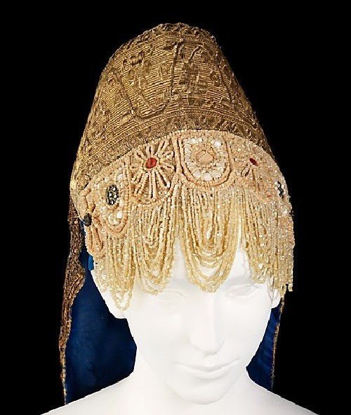 Headdress. Date - first quarter 19th century Medium - silk, metal, shell, glass