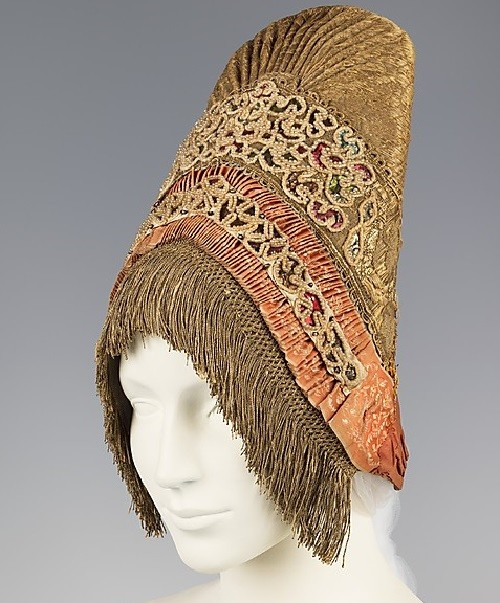 Headdress. Date - fourth quarter 18th century Medium - pearl, cotton, metal, silk