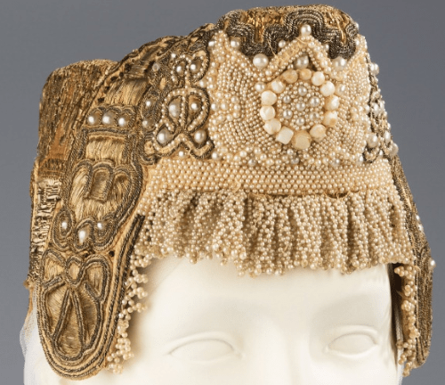 Headdress. Early 19th century. Metal, pearl, cotton, paper