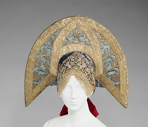 Headdress. Early 19th century. Silk, glass, semi-precious stones, metal, cotton, mother-of-pearl