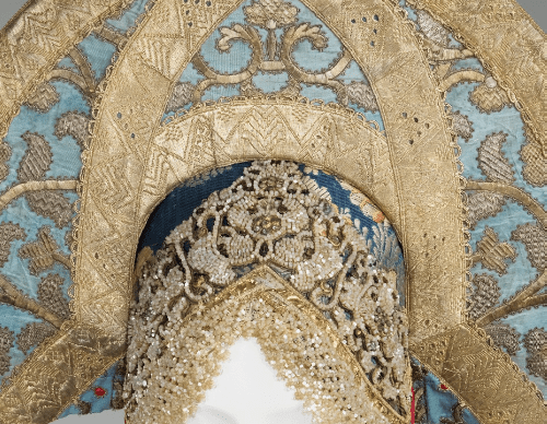 Headdress. Early 19th century. Silk, metal, cotton, paper (detail)