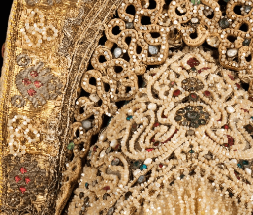 Headdress. Early 19th century. Silk, pearls, metal, cotton, paper. (detail)