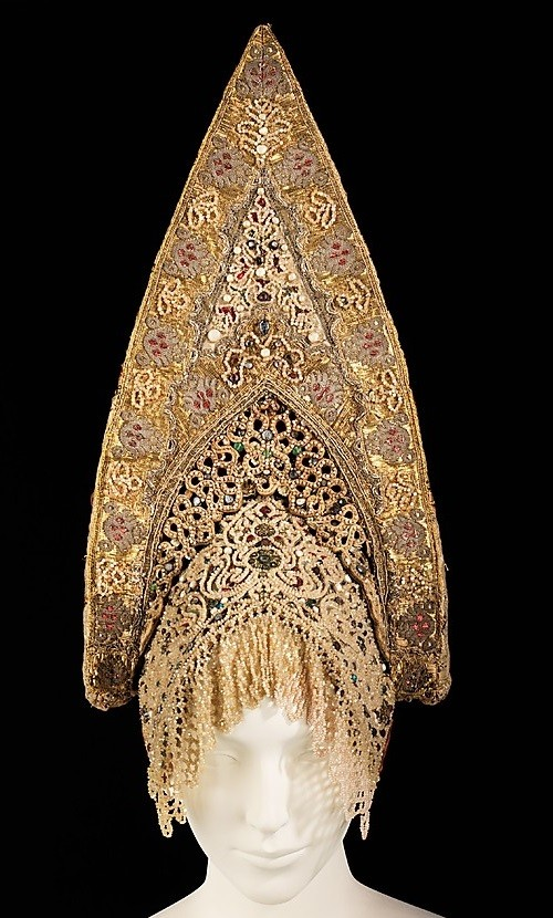 Headdress. Early 19th century. Silk, pearls, metal, cotton, paper