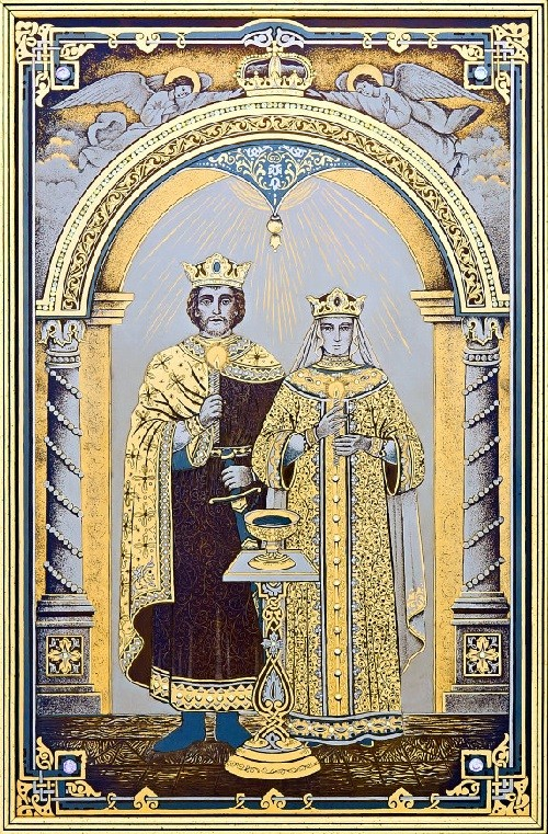 Icon of a wedding. Technology - engraving, etching, nickel, gold-plated, blued
