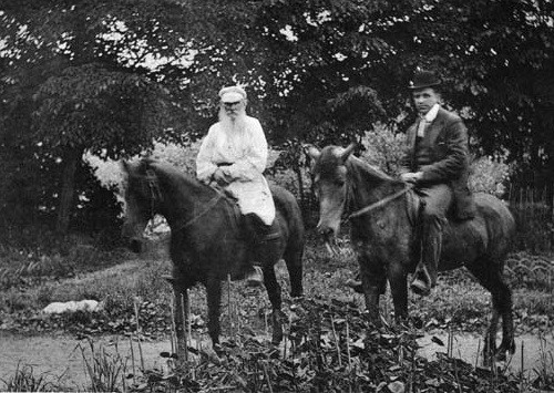 Leo Tolstoy and sculptor Prince Paolo Troubetzkoy, horse riding