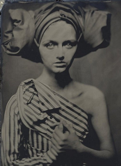 The photographs look like vintage postcards, though they are not. Maria Kalinina