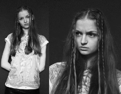 Black and white photo of Beautiful Russian model