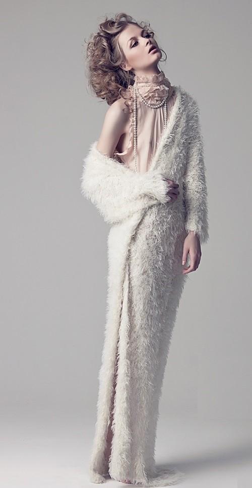 In a long dress, Maria Kalinina