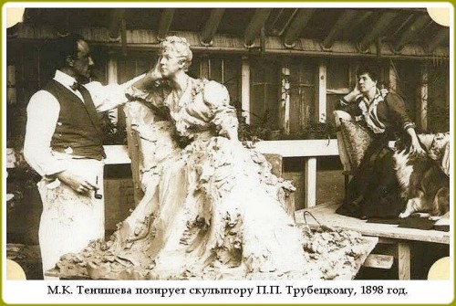 Pavel Trubetskoy sculpts princess Tenisheva  on her estate in Talashkino near Smolensk. 1899