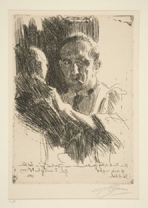 Portrait of sculptor Prince Paolo Troubetzkoy, etching, by Anders Zorn, 1909