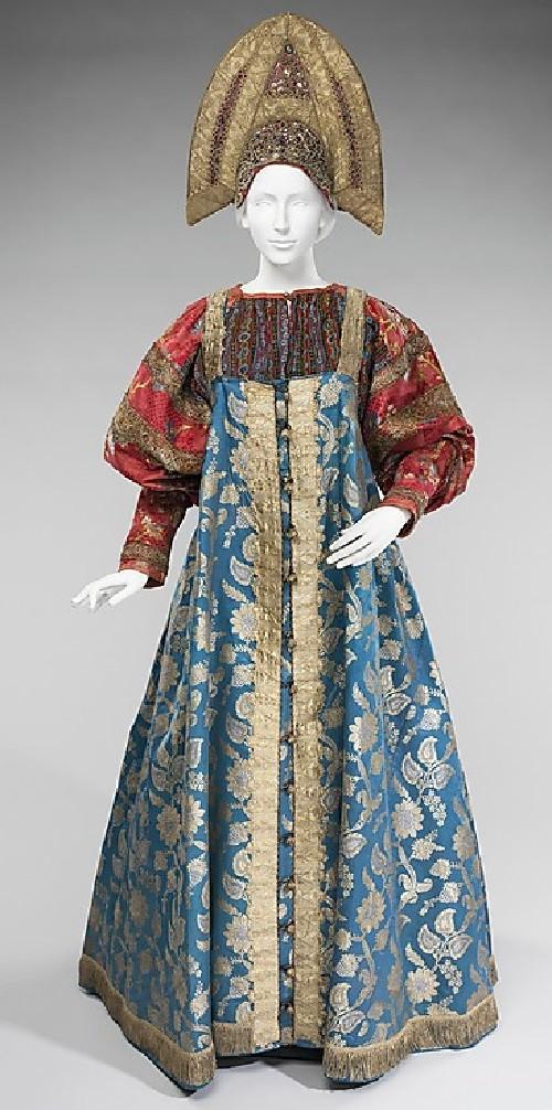 Date - 19th century. Medium - silk, metal, glass, semi-precious stones, cotton. Brooklyn Museum Costume Collection at The Metropolitan Museum of Art