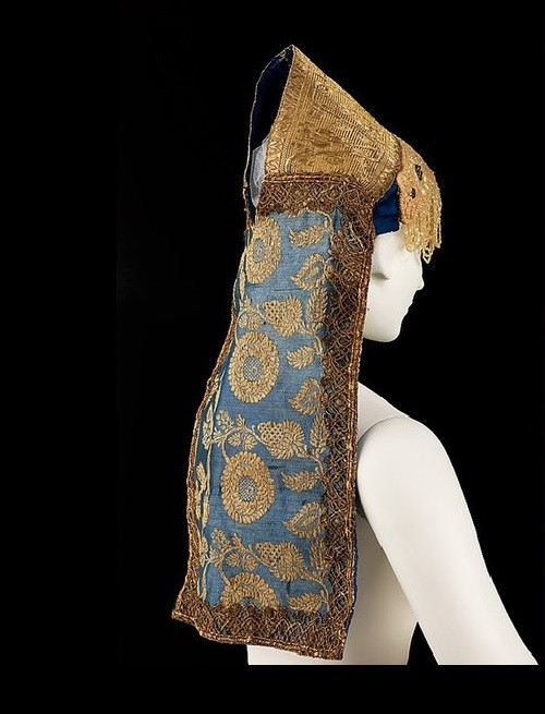 Russian headdress. Date - 19th century. Medium - silk, metal, linen. Brooklyn Museum Costume Collection at The Metropolitan Museum of Art